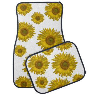 Yellow Scattered Sunflowers Car Mat Set
