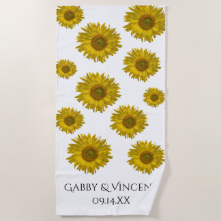 Yellow Scattered Sunflowers Wedding Beach Towel