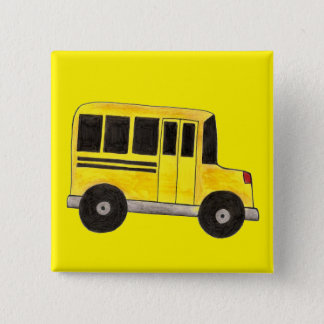 Yellow School Bus Buses Driver Teacher Education 2 Inch Square Button