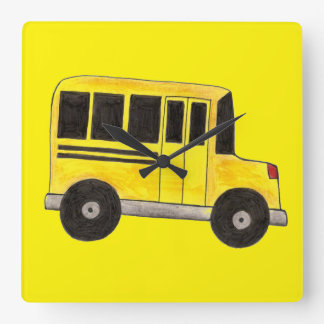 Yellow School Bus Driver Education Teacher Clock