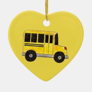 Yellow School Bus Driver Teacher Education Gift Ceramic Ornament