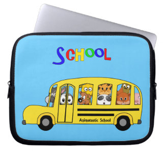 Yellow School Bus filled with Cartoon Animals Laptop Computer Sleeve