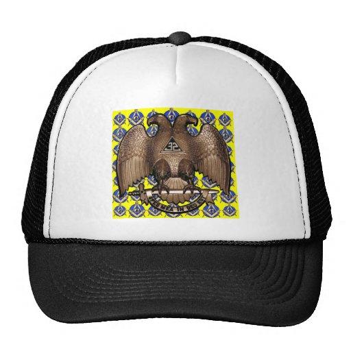 Yellow Scottish Rite Square & Compass Mesh Hat