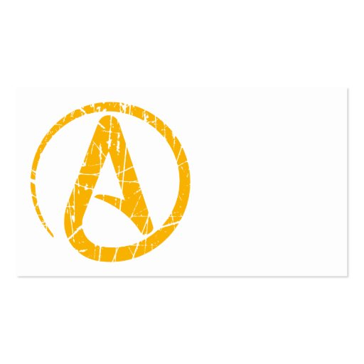 Yellow Scratched and Worn Atheist Atheism Symbol Business Card Templates