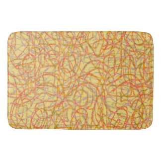 Yellow scribbled lines pattern bath mat