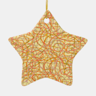 Yellow scribbled lines pattern ceramic star ornament