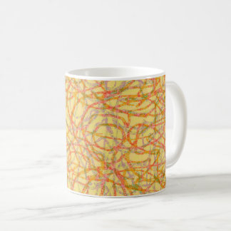 Yellow scribbled lines pattern coffee mug