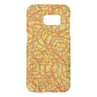 Yellow scribbled lines pattern samsung galaxy s7 case