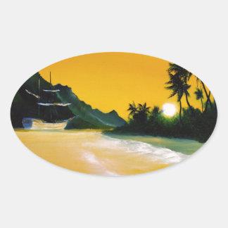 yellow sea.jpg oval sticker