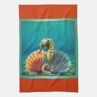 Yellow Seahorse and Scallop Shells Kitchen Towel
