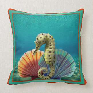 Yellow Seahorse and Scallop Shells Throw Pillow