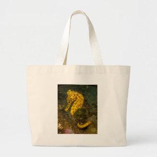 Yellow Seahorse Large Tote Bag