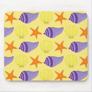 Yellow Seashell Sea Shell Conch Starfish Beach Mouse Pad