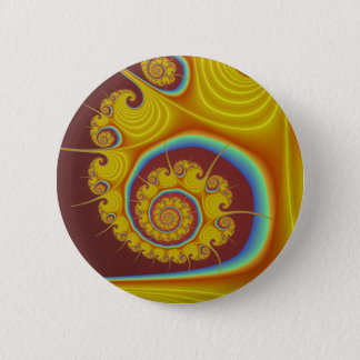 Yellow Seashell Spiral Fractal 2 Inch Round Button
