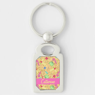 Yellow Sewing Notions Art Name Personalizd Silver-Colored Rectangle Keychain