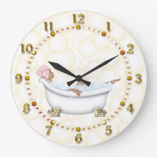 yellow Shiny Numbers Bathroom Bubbles Large Clock