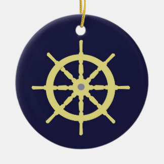 Yellow Ship Helm - Navy Blue Ceramic Ornament
