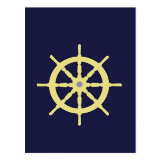 Yellow Ship Helm - Navy Blue Postcard