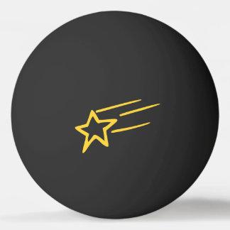 Yellow Shooting Star Outline on Black Ball