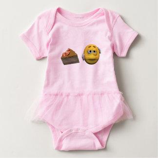 Yellow sick emoticon or smiley baby bodysuit