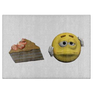 Yellow sick emoticon or smiley cutting board