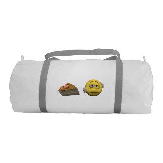 Yellow sick emoticon or smiley gym bag