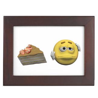 Yellow sick emoticon or smiley keepsake box