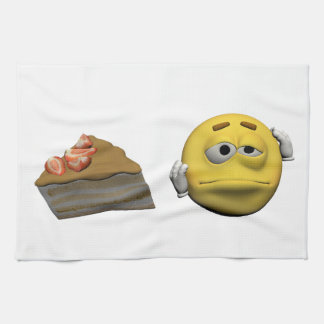 Yellow sick emoticon or smiley kitchen towel