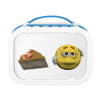 Yellow sick emoticon or smiley lunch box