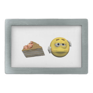 Yellow sick emoticon or smiley rectangular belt buckle