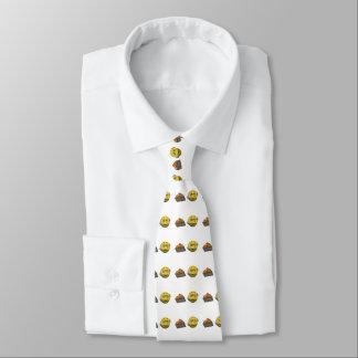 Yellow sick emoticon or smiley tie