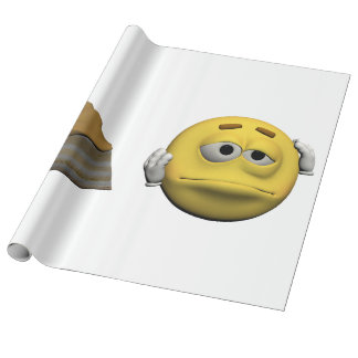 Yellow sick emoticon or smiley wrapping paper