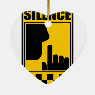 Yellow Silence Sign Ceramic Ornament