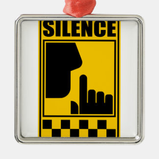 Yellow Silence Sign Metal Ornament