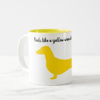 Yellow Silhouette Dachshund Mug