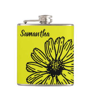 Yellow Simple Bright Fun Daisy Personalize Hip Flask