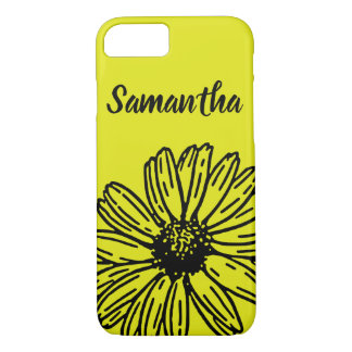 Yellow Simple Bright Fun Daisy Personalize iPhone 8/7 Case
