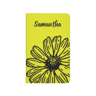 Yellow Simple Bright Fun Daisy Personalize Journal