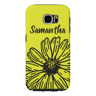 Yellow Simple Bright Fun Daisy Personalize Samsung Galaxy S6 Cases