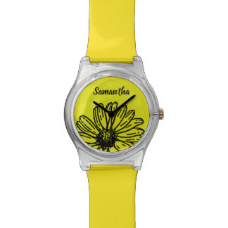 Yellow Simple Bright Fun Daisy Personalize Watch