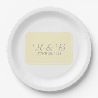 Yellow Simply Elegant Wedding Paper Plate