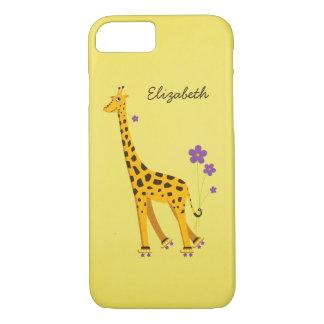 Yellow Skating Cartoon Giraffe iPhone 7 Case