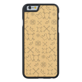 Yellow Skull and Bones pattern Carved Maple iPhone 6 Case
