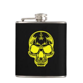 Yellow Skull Black Vinyl Wrapped Flask