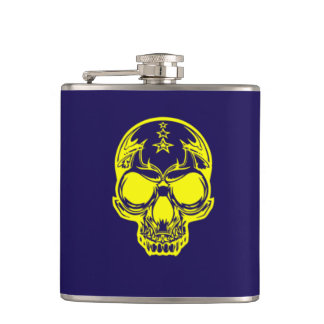 Yellow Skull Dark Blue Vinyl Wrapped Flask