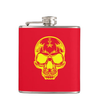 Yellow Skull Red Vinyl Wrapped Flask