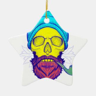 Yellow Skull Smoking Pipe. Ceramic Star Ornament
