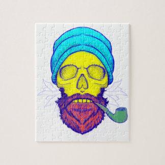 Yellow Skull Smoking Pipe. Jigsaw Puzzle