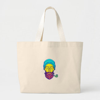 Yellow Skull Smoking Pipe. Large Tote Bag