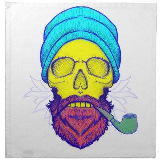Yellow Skull Smoking Pipe. Napkin